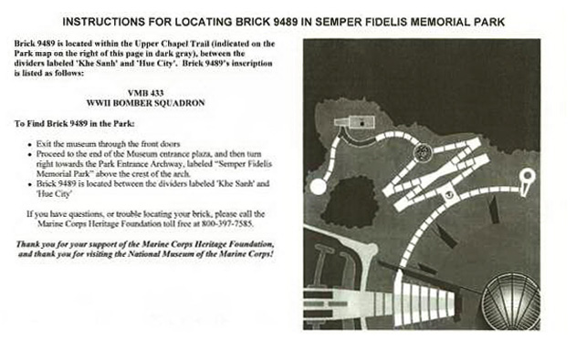 Instructions for Locating Memorial Brick